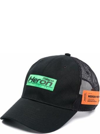 HERON PRESTON Trucker Baseball Cap In Black Canvas And Mesh