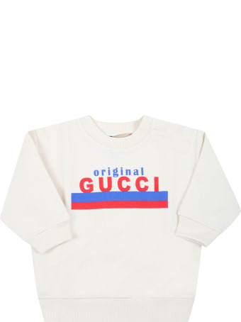 Gucci Ivory Sweatshirt For Babykids With Logo
