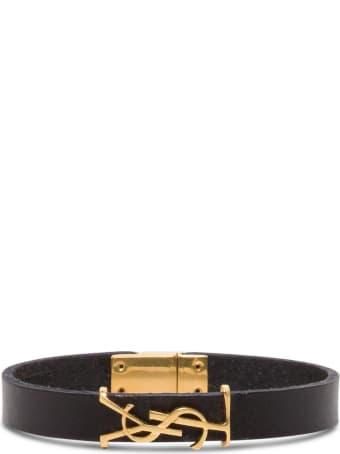 Saint Laurent Leather Bracelet With Logoed Buckle