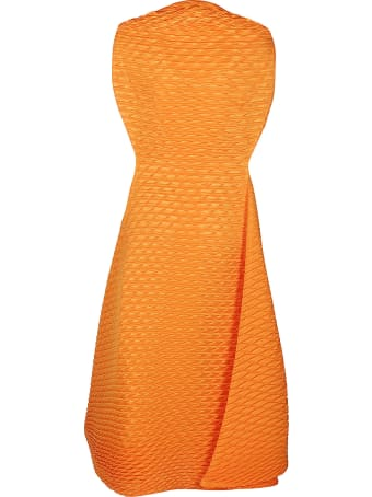 Issey Miyake Orange Temporary Room Midi Dress