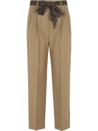 Saint Laurent Leopard Belt Straight Trousers