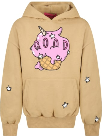 IRENEISGOOD Beige Sweatshirt For Girl With Ice Cream