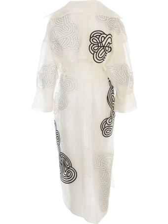 Varana Organza Silk Trench W/rabari Embroidery