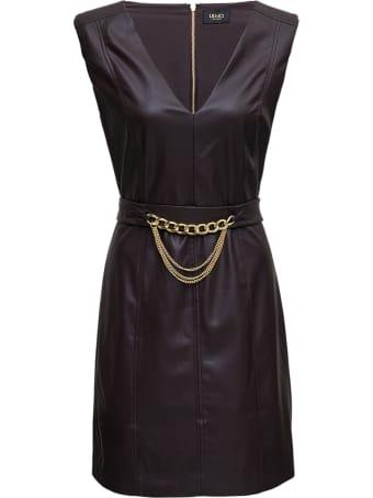 Liu-Jo Brown Leatheret Dress With Chain Belt