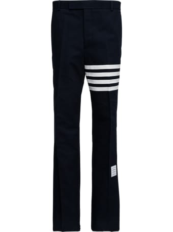 Thom Browne Blue Cotton Trousers With 7bar Detail