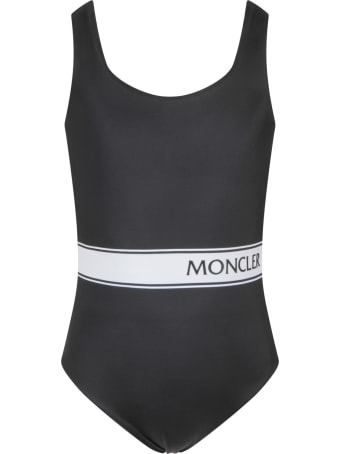 Moncler Black Swimsuit For Baby Girl With Logo