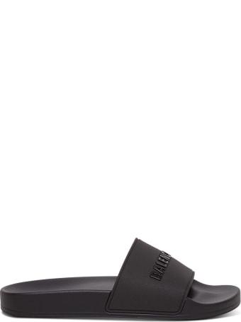 Balenciaga Rubber Slide Sandals With Logo