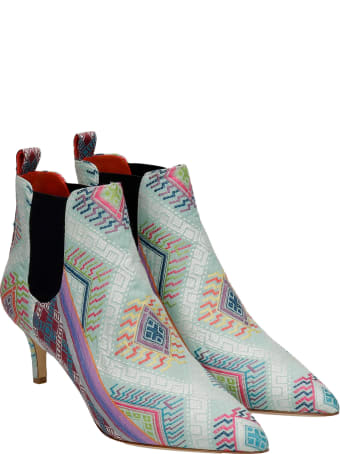 Bams High Heels Ankle Boots In Multicolor Fabric