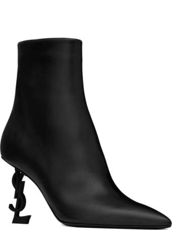 Saint Laurent Black Leather Opyum 85 Ankle Boots