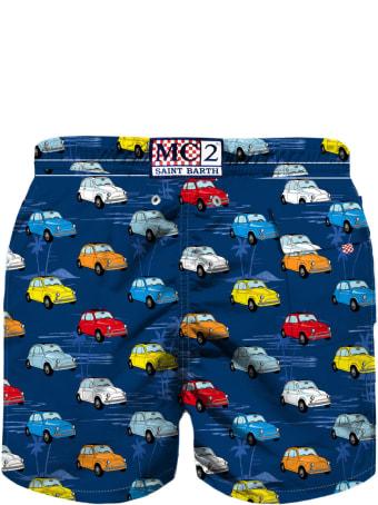 MC2 Saint Barth Multicolor Cars Print Boy's Swimshorts