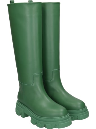 Gia X Pernille Teisbaek Perni 07 Low Heels Boots In Green Leather