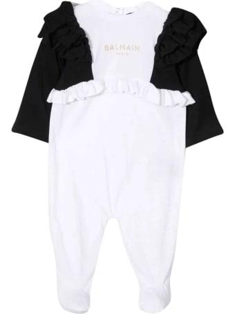 Balmain Newborn White Onesie