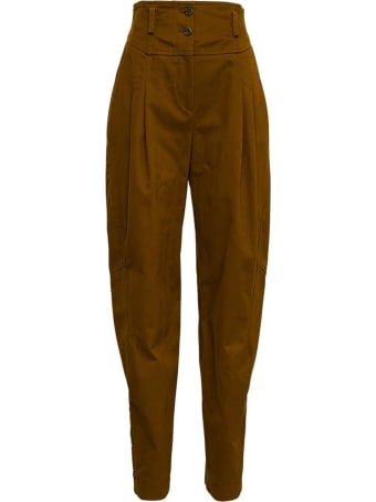 Alberta Ferretti High Waisted Brown Cotton Pants