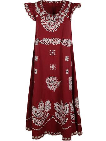 RED Valentino Ruffled Capped Sleeve Long Dress