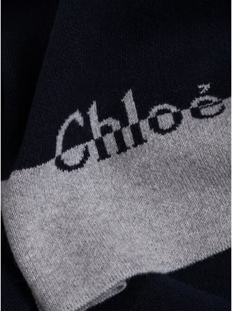 Chloé Wool And Cotton Scarf With Logo