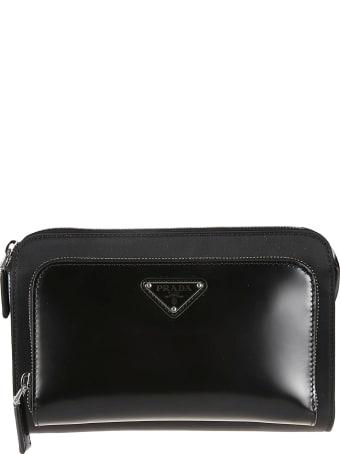 Prada Logo Plaque Zip-around Shoulder Bag