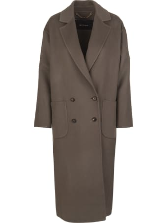 Kiton Woman Long Double-breasted Coat In Brown Cashmere