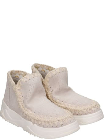 Mou Eskimo Trainer Low Heels Ankle Boots In Grey Suede