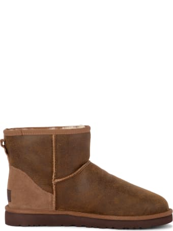 UGG Classic Mini Bomber Brown Sheepskin And Suede Ankle Boots