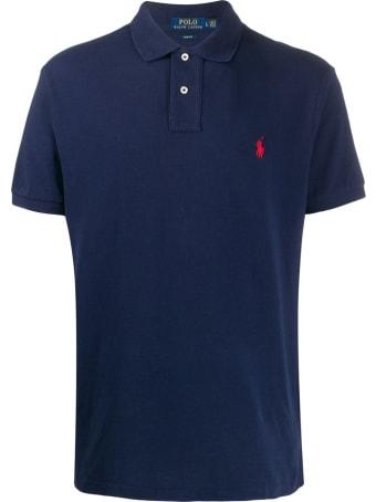Ralph Lauren Blue Jersey Polo Shirt With Logo