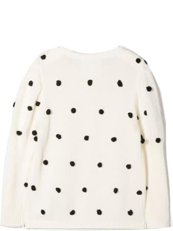 Douuod Ivory-white Black Cotton Blend Cardigan