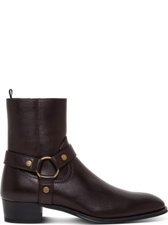 Saint Laurent Wyatt Ankle Boots In Brown Leather