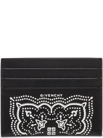 Givenchy Black And White Leather Card Holder With Bandana Print