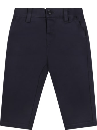 Armani Collezioni Blue Trouser For Baby Boy With Logo