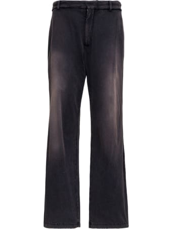 Balenciaga Slim Trousers In Black Washed Cotton