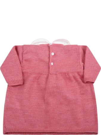 Little Bear Pink Dress For Baby Girl With Bow