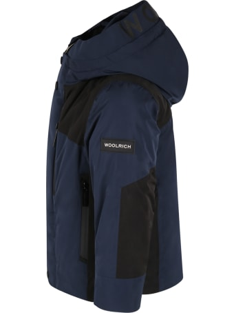 Woolrich Blue Jacket For Boy With Logo