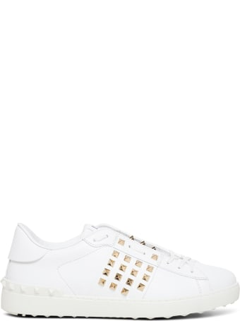 Valentino Garavani White Leather Sneakers With Studs