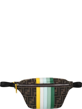 Fendi Brown Bum-bag For Girl With Colorful Stripes