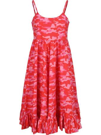 Comme Des Garçons Girl Camouflage-print Ruffle-trim Dress