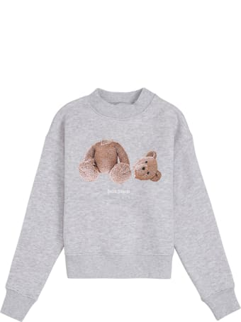 Palm Angels Grey Cotton Crew Neck Sweatshirt With Teddy Bear Print