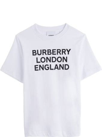 Burberry White Jersey Tee With Logo