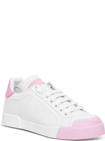 Dolce & Gabbana Portofino Sneakers In White And Pink Leather