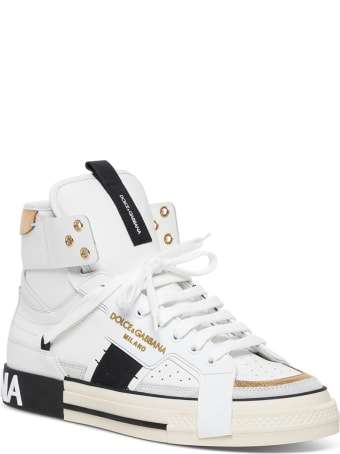 Dolce & Gabbana Custom 2zero Leather High Top Sneakers