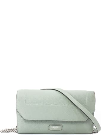Lancel Green Leather Chain Wallet