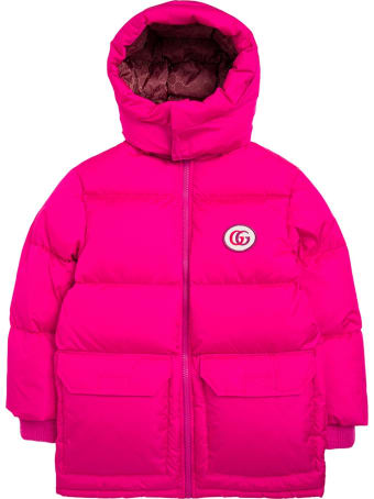 Gucci Pink Nylon Down Jacketì With Logo Patch