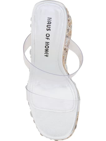 Haus of Honey Croco Crystal Two-strap Mules