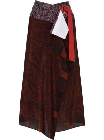 Ibrigu Multicolor Silk Wrap Midi Skirt