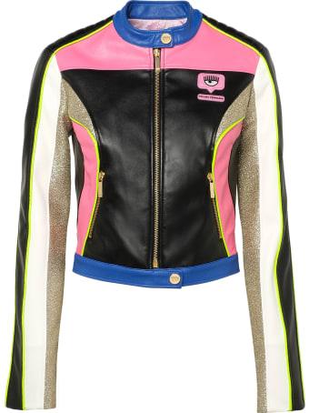 Chiara Ferragni Multicolor Coated Fabric Biker Jacket