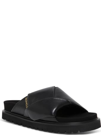 Moncler Black Woven Leather Sandals