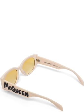 Alexander McQueen Beige Acetate Sunglasses With Logo Print