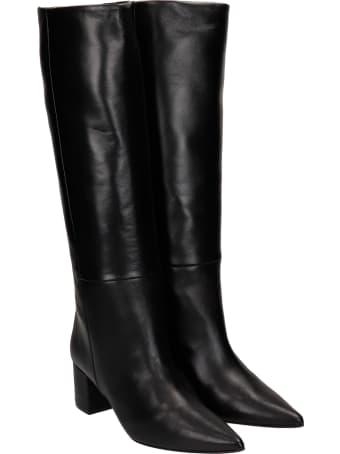 Marc Ellis Oregon High Heels Boots In Black Leather