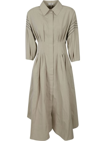 Brunello Cucinelli Pleat Detail Shirt Dress