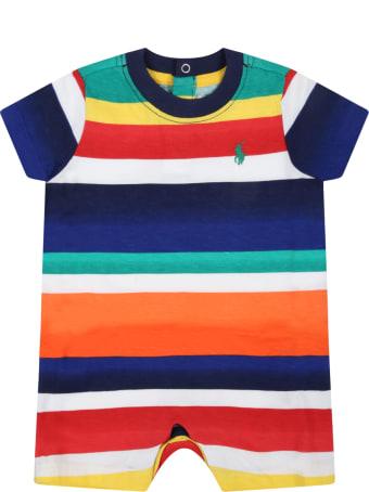 Ralph Lauren Multicolor Romper For Baby Boy With Pony Logo