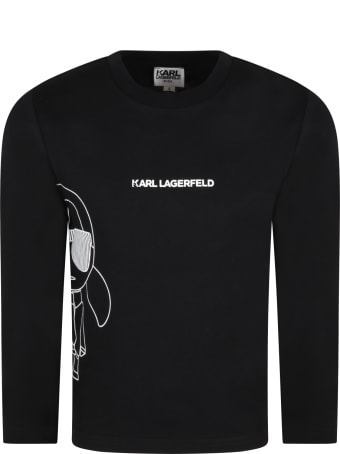 Karl Lagerfeld Kids Black T-shirt For Kids With Karl Lagerfeld And Logo