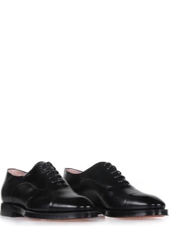 Santoni Derby In Black Leather